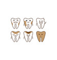 stomatology and dental line icons set sick teeth vector image