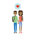 teenager couple in love full length avatar on vector image