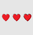 three heart icons red and black color in trendy vector image vector image