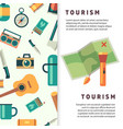 tourism banner design with flat map and vector image vector image