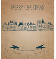 Vintage Christmas card European Houses vector image