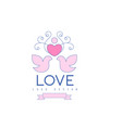 wedding line logo with love doves heart and vector image vector image