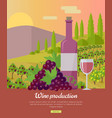 wine production banner poster for rose vine vector image vector image