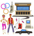 1980s style fashion and technologies epoch vector image vector image