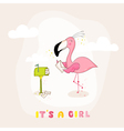 Baby Shower or Arrival Card - Baby Flamingo Girl vector image vector image