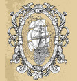 baroque frame with ancient vessel vector image vector image