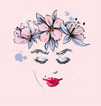 beautiful girl with pink flowers spring wreath on vector image vector image