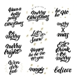 big set of hand drawn christmas lettering vector image vector image
