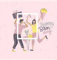 birthday card yoang with woman and man holding vector image vector image