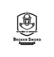 broken sword warrior logo with ancient soldier vector image vector image
