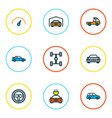 car icons colored line set with garage wheelbase vector image vector image