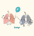 cartoon character human lungs vector image vector image