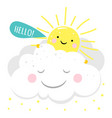 cartoon character sun card vector image