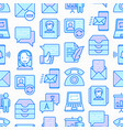 communication seamless pattern with thin line icon vector image vector image