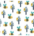 cute bee in forest seamless pattern vector image