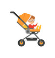 cute little boy in glasses sitting in an orange vector image vector image