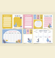 cute set weekly planner to do list vector image vector image