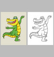 dancing crocodile cartoon character coloring book vector image vector image