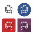 dotted icon tram in four variants with short vector image vector image