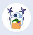 drone carrying parcel box with grocery products vector image