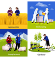 Farmers Gardeners 4 Flat Icons Square vector image