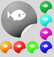 fish icon sign Set of eight multi colored round vector image vector image