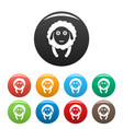 front face sheep icons set color vector image vector image