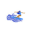 funny with girl surfer riding a wave vector image