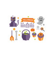 halloween icons set cat ghost cupcakes vector image