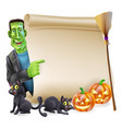 halloween scroll with frankenstein vector image vector image