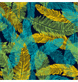 hand drawn seamless pattern of feathers color of vector image vector image