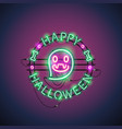 happy halloween neon ghost vector image vector image