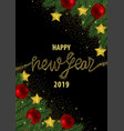 happy new year 2019 card with gold glitter vector image vector image