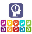 head with exclamation mark inside icons set flat vector image vector image