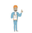 hindu businessman with clipboard giving thumb up vector image vector image