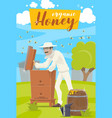 honey farm beekeeper and hive at apiary vector image vector image