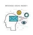 human head silhouette message ideas money solution vector image vector image