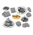 ink sketches waffles vector image vector image