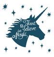 Inspiring unicorn silhouette with positive phrase