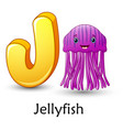 letter j is for jellyfish cartoon alphabet vector image vector image