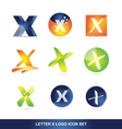 Letter x logo icon set 3d vector image vector image