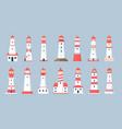 lighthouse towers cartoon sea beacon design vector image vector image