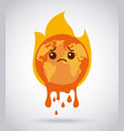 melting cartoon planet earth burning fire sad vector image