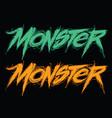 monster handwritten modern lettering vector image vector image