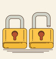 opened and closed locks flat locks vector image vector image