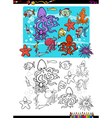 sea life group coloring page vector image