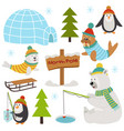 set of isolated arctic elements part 2 vector image