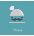 Silver platter cloche Chef hat with big curl vector image