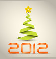 simple christmas tree made from green paper stripe vector image vector image