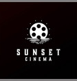 sunset sunrise cinema film movie logo design vector image